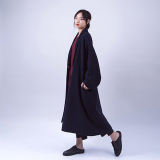 Hide blue wool coat