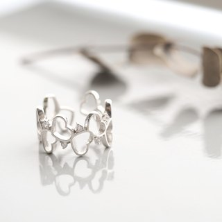 Wave Open Heart Ring Silver 925