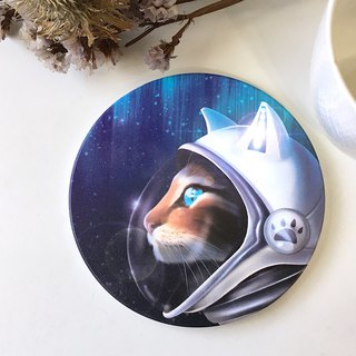 Animal illustration ceramic absorbent coaster [Cats aspire to space]