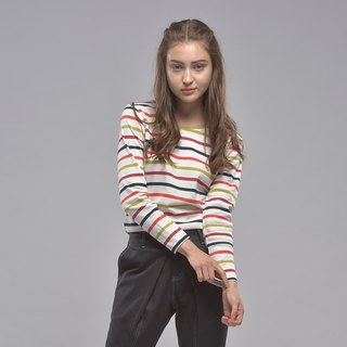 Round neck colorful striped long-sleeved top