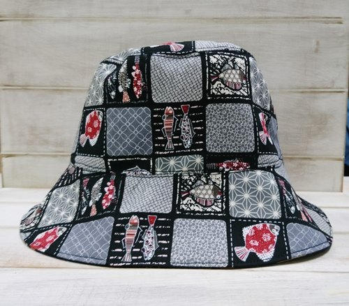Japanese style collage pattern & puffer red fisherman hat