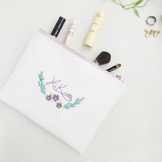 [hand embroidery] purple flower cosmetic bag / canvas storage bag clutch bag transparent inner separation hand embroidery