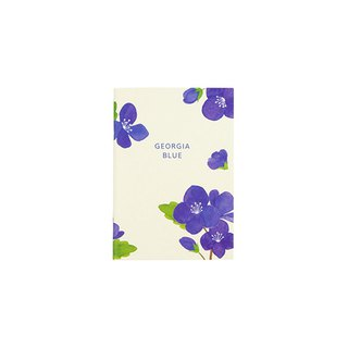 Flower bloom horizontal line notebook S size 04. Georgia blue