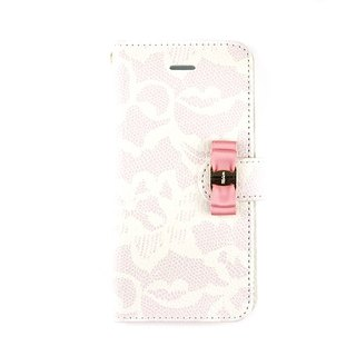 Lace pattern with buckle ribbon Notebook type smart case