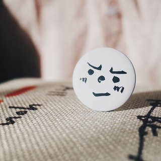 Emoticon Jun - proud and shameful face badge badge