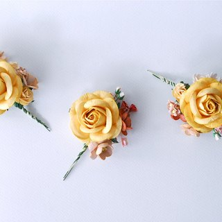 THREE Paper Flower Boutonnière for grooms, wedding, Egg yellow Big roses, Wine&brown Cherry blossom and pink creeping lady.