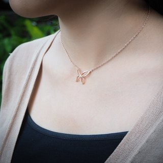 Plain pink gold plated silver butterfly necklace