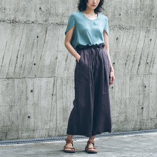 Front pleated drawstring wide pants - brown