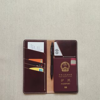 Multi-function wallet passport with pen inserted Italian vegetable tanned leather brown dyeing design