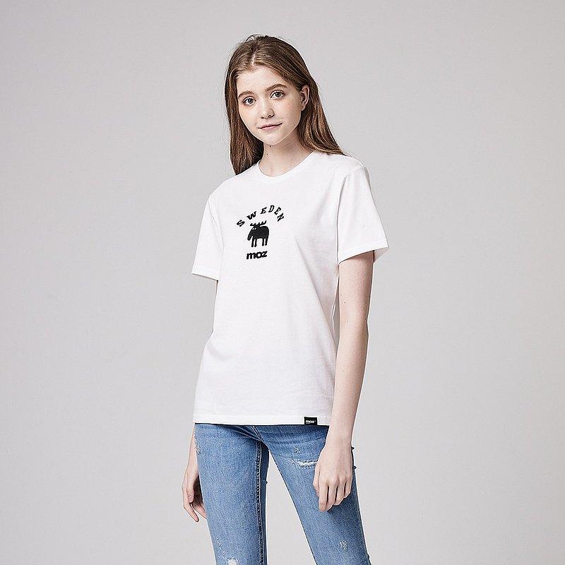 moz瑞典大環形駝鹿印花100%純棉短T經典白(亞洲版)女款