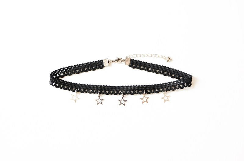 Black lace choker with silver stars