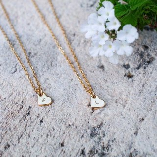 [Customization] :: 2 into the girlfriend combination :: mini love name abbreviation lucky necklace (heart and mind: positive and negative print an English letter)