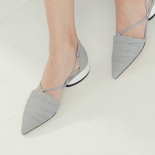 Semicircular rope cut oval with leather pointed shoes gray blue