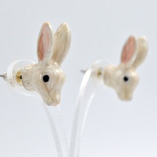 TIMBEE LO Rabbit Head Stud Earrings White Pink Pink Resin Hand Painted Limited Edition
