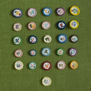 Handmade Embroidery Alphabets Brooch - Make your own combination!