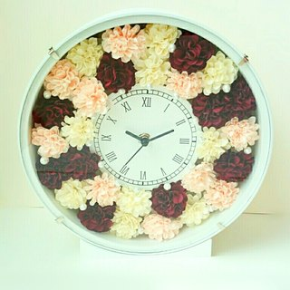 Flower Clock round (white) Carnation (Red system mix) ver.