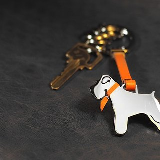 Shaped stainless steel leather key ring (with lettering) - dog / cat