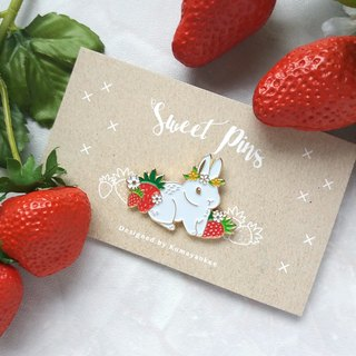 Strawberry Bunny Metal Brooch