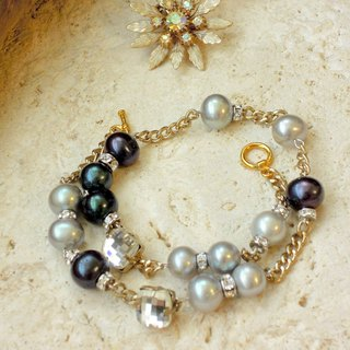 """Serenade"" - 2 tones pearls wrapped around bracelet"