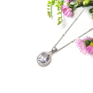 Jewelry ReShi / Shiny Zircon Single Pendant Necklace / 925 Sterling Silver / Customized Handmade