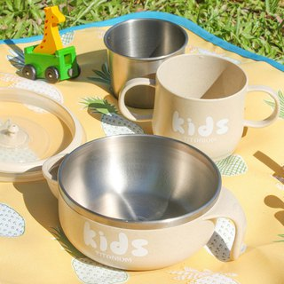Pure titanium children's learning cup water injection bowl (double layer) - wheat yellow