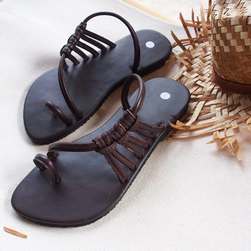 棕色編織皮革涼鞋夏季涼鞋,波西米亞鞋酷酷的時尚