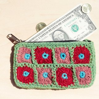 A limited edition hand-crocheted rectangle purse / storage bag / cosmetic bag - forest green flowers