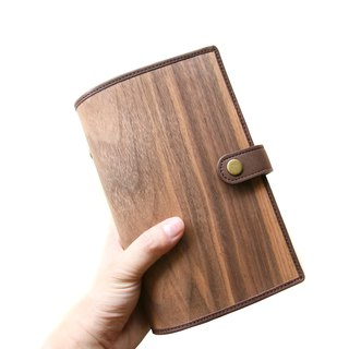 Wood leather notebook