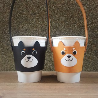 Leather Cup Set Shiba Inu Set Green Drink Bag