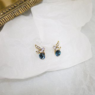 Retro era Bird of Paradise Earrings (blue)