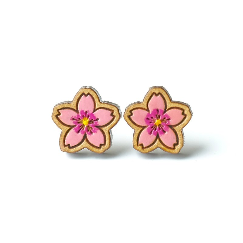 Painted wood earrings-Cherry blossoms