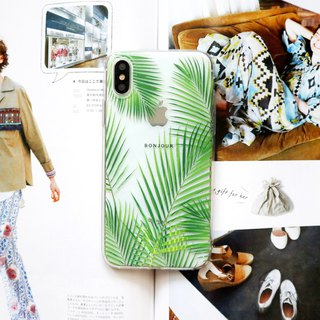Coconut palm brown transparent mobile phone case