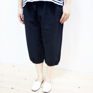 Cotton casual 6 pants / black