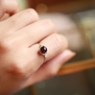5.5mm Red Garnet Copper Ring Ring