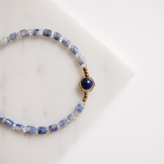"""KeepitPetite"" temperament • hexagonal lapis lazuli blue proluta • • • bracelet hand ring gift"