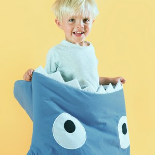 [Spanish] Shark bite a BabyBites cotton children's multi-function sleeping bag - Zhan gray blue