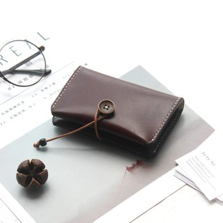 Dark brown vegetable tanned leather handmade leather purse business card package card package card package button credit card package