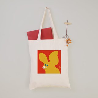 [Animal Graffiti] Yellow Piglet Canvas Tote