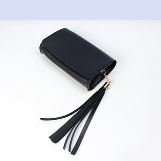 Zemoneni leather fine lady Shoulder bag & Clutch in Black color with tassels