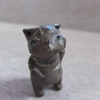 Cat - a little terracotta cat with gold and coffee markings