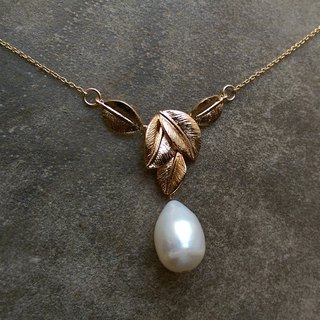 Baroque Pearl and Brass Leaf Necklace