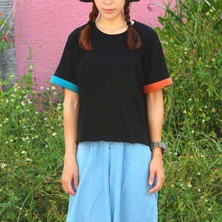 Maverick Village Women's Short Sleeve T-Shirt Simple Colorblock [Children's Time] T-31 Orange/Peacock Blue