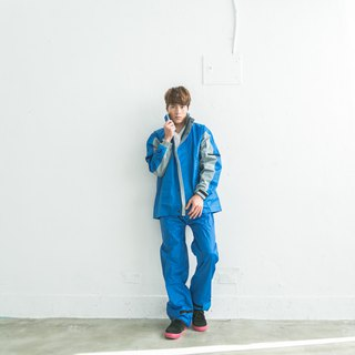 Relaxed two-piece raincoat - Royal Blue / Light Gray