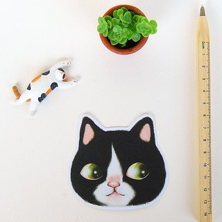 Fish cat / waterproof stickers / black and white cat brother