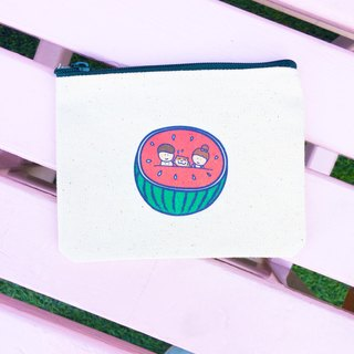 Watermelon の daily cat canvas coin purse hand-printed (ticket clip) Coin bag