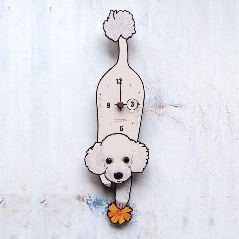 D-003 貴賓狗(白) - 動物造型鐘擺鐘