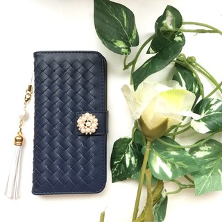 【Pajour】 (Navy) Intorechat notebook type smartphone case 【iPhone】 【notebook】 【knitting】