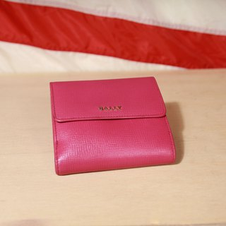 Back to Green:: 桃紅BALLY 金色logo vintage wallet ( WT-25 )