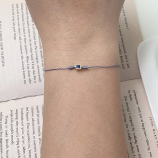 *Le Bonheur happy Line line*925 gold-plated sterling silver bottom red bracelet classical ultra-small gold square diamond blue zircon ^^ understated elegance temperament fine hand rope