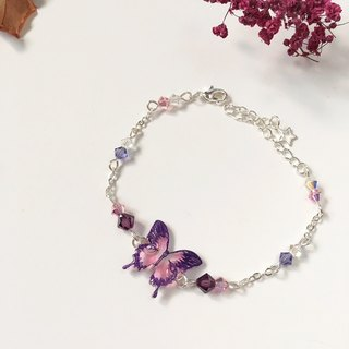 * Haku‧Neko * Purple pattern hand-painted swallowtail butterfly pink color crystal bracelet gift